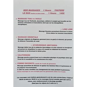 carte des massages